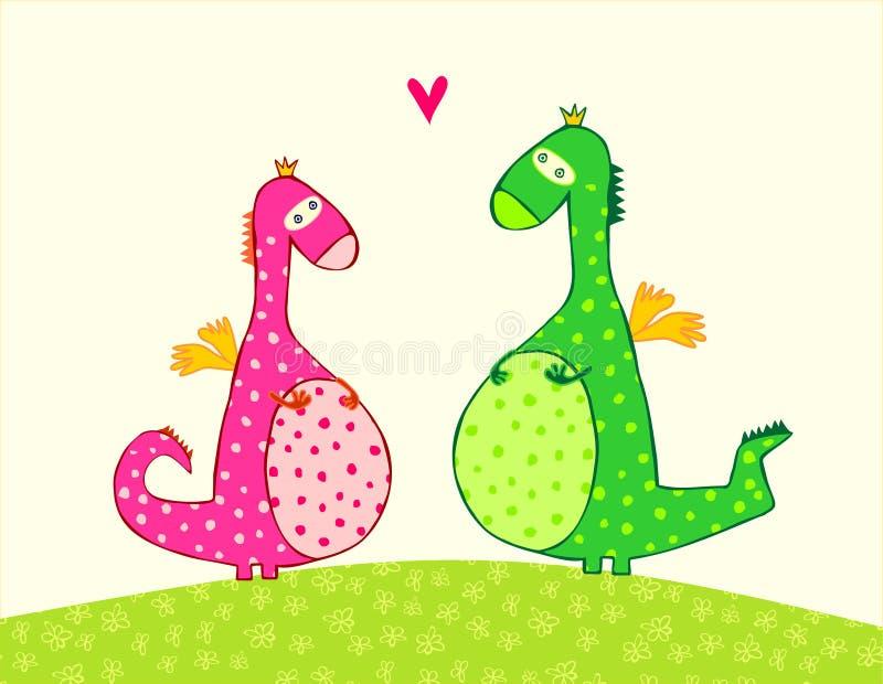Amantes dos dragões ilustração royalty free