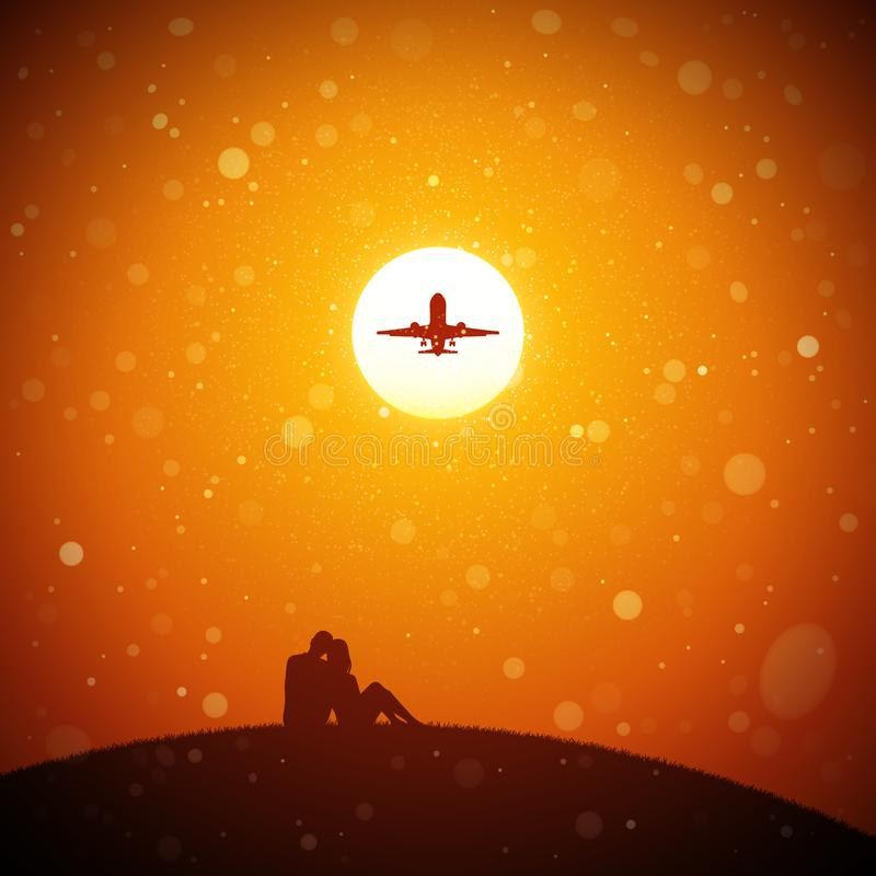Amantes e aviões de voo no por do sol vermelho ilustração stock
