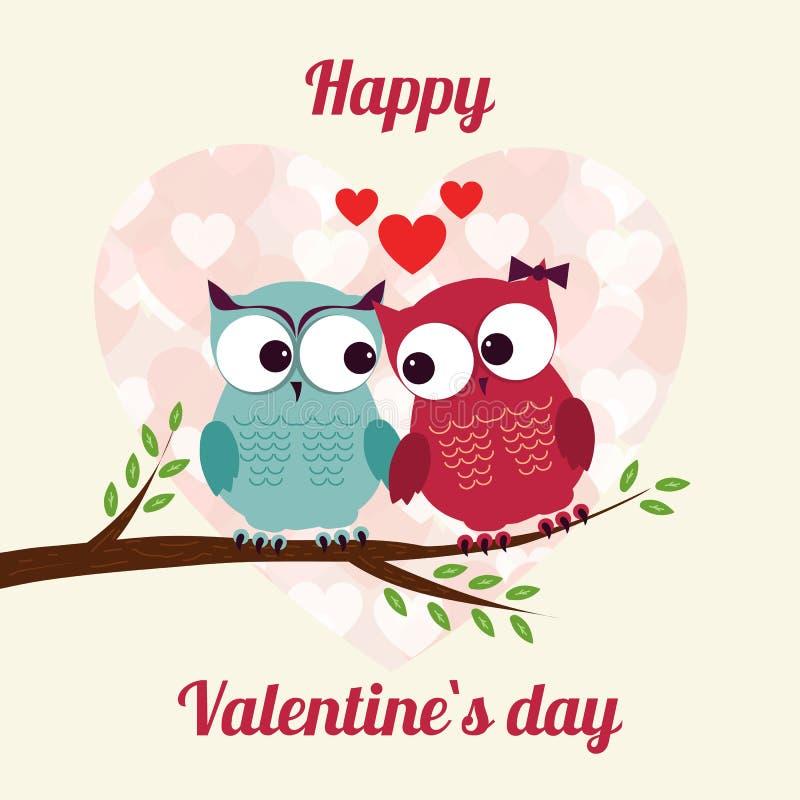 Amantes e corujas felizes na árvore com corações ilustração do vetor