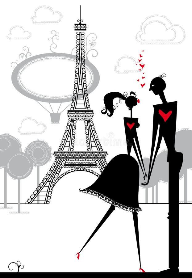 Amantes em Paris. ilustração stock