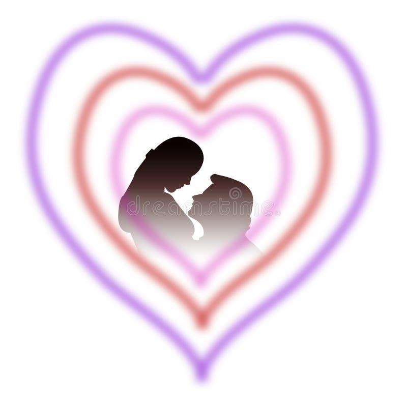 Amantes en corazón ilustración del vector