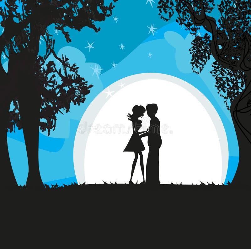 Amantes en el claro de luna ilustración del vector