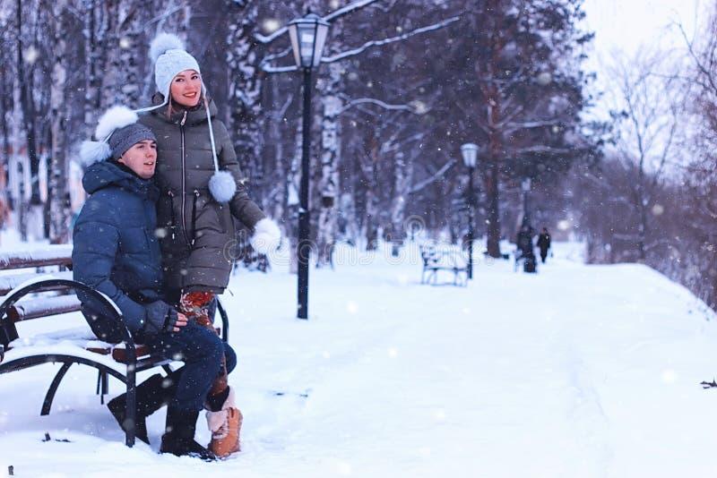 Amantes en el parque en invierno imagen de archivo libre de regalías