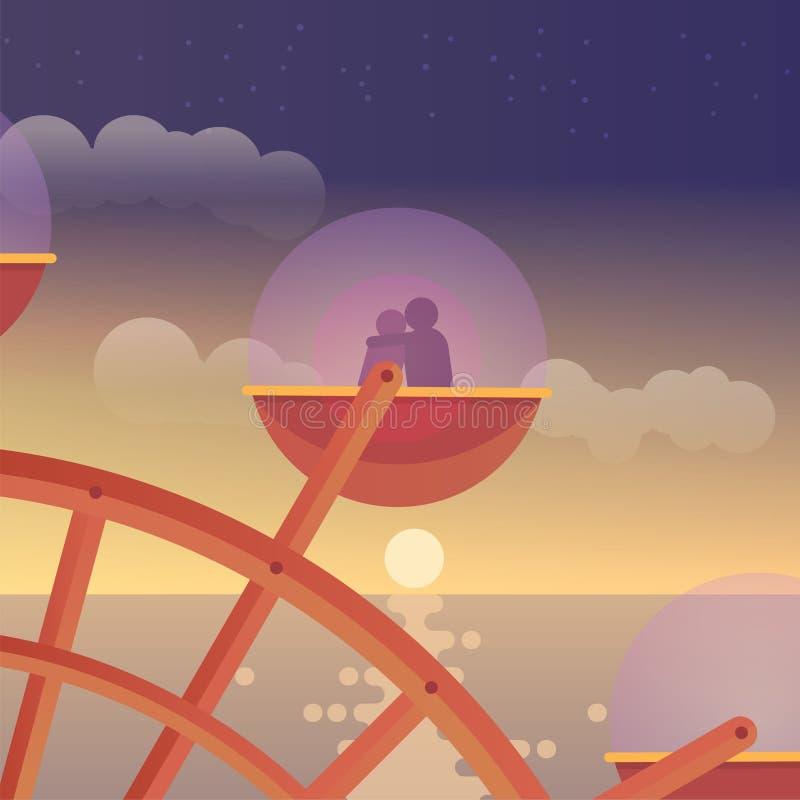 Amantes en Ferris Wheel ilustración del vector