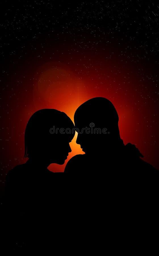 Amantes En La Noche Fotografía de archivo