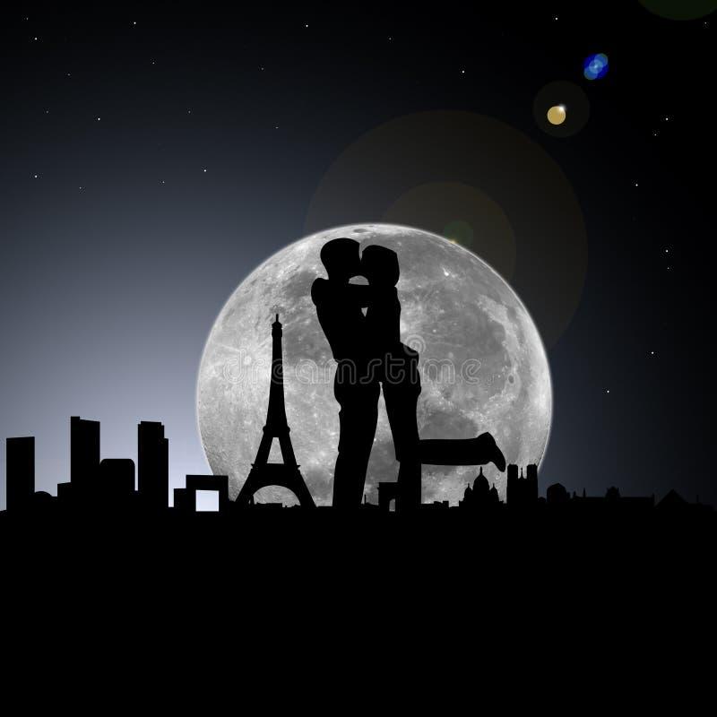 Amantes en la noche de París con la luna