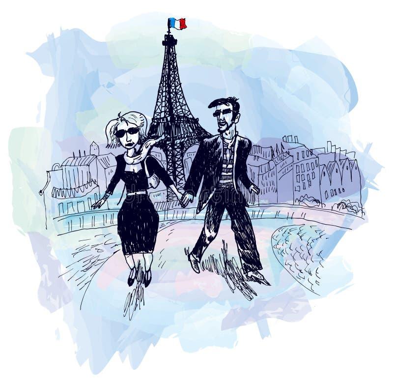 Amantes en París (vector) ilustración del vector