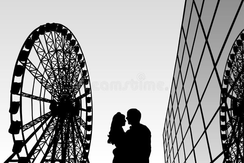 Amantes en parque de atracciones libre illustration