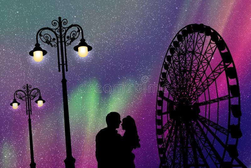 Amantes en parque de atracciones en la noche ilustración del vector