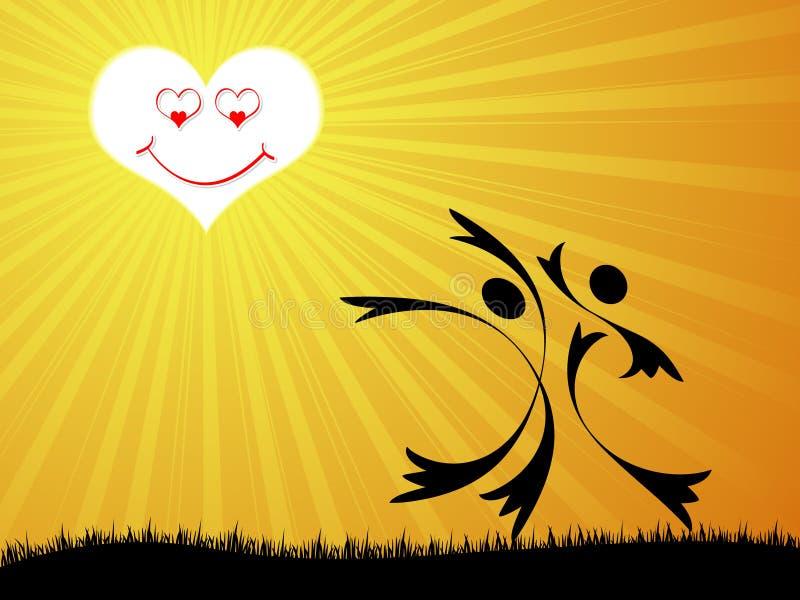 Amantes felizes ilustração stock