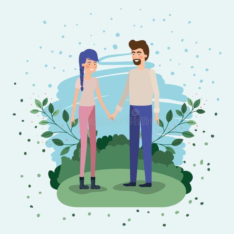 Amantes jovenes de los pares en el campo ilustración del vector