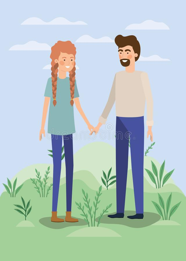 Amantes jovenes de los pares en el campo stock de ilustración