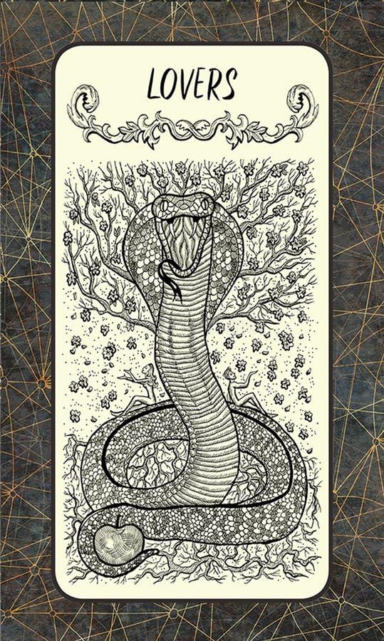 amantes La carta de tarot mágica de la puerta stock de ilustración