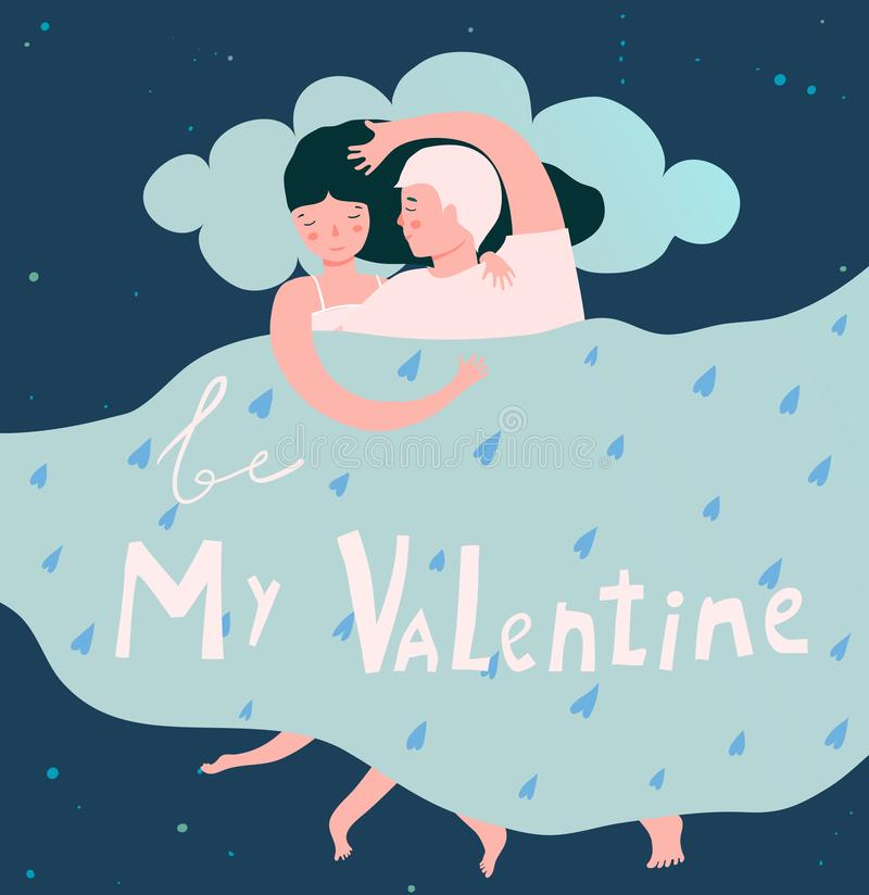 Amantes macios na cama Valentine Night Embrace ilustração royalty free