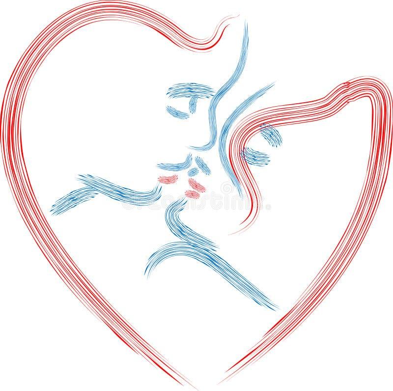 Amantes na forma do coração ilustração stock