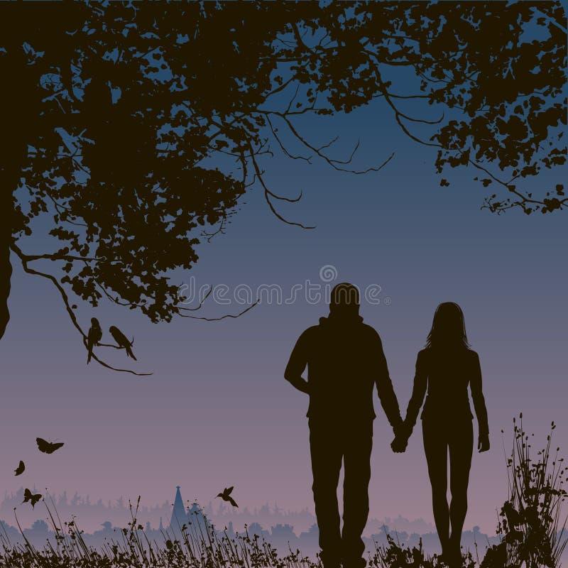 Amantes na noite, fundo romântico da natureza ilustração royalty free