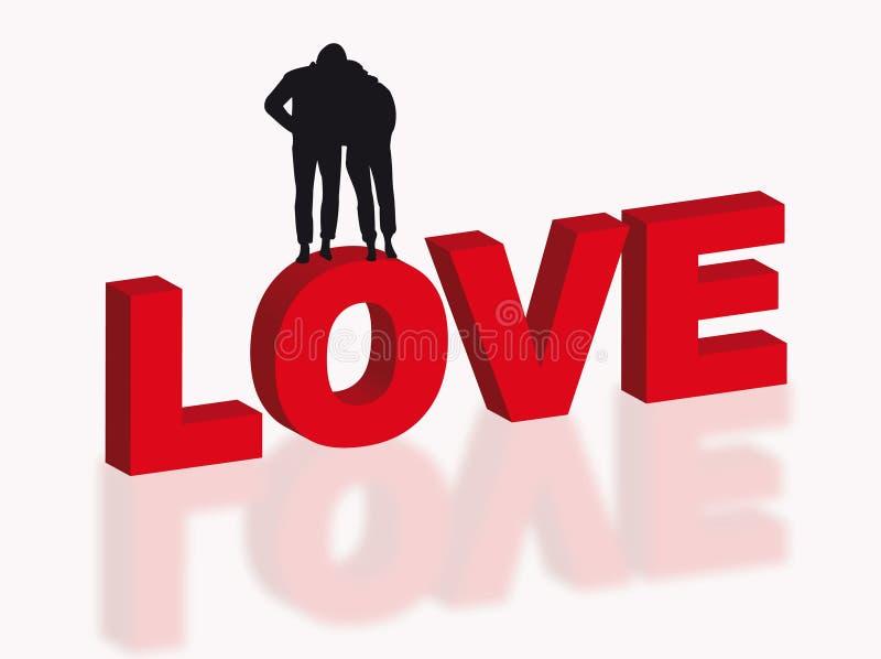 Amantes nas letras ilustração do vetor