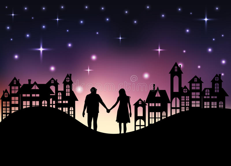 Amantes no fundo da cidade da noite ilustração royalty free
