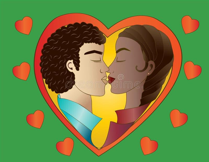 Amantes no fundo verde ilustração stock