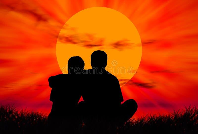 Amantes no por do sol ilustração stock