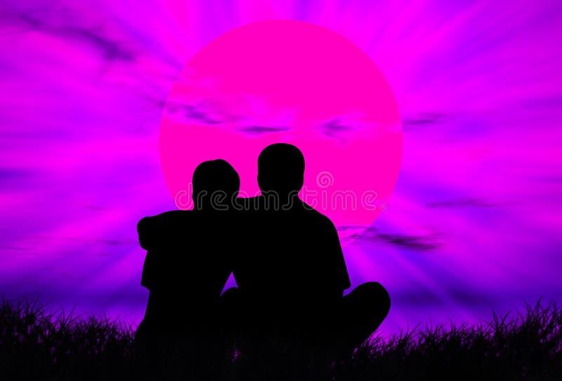 Amantes no por do sol ilustração do vetor