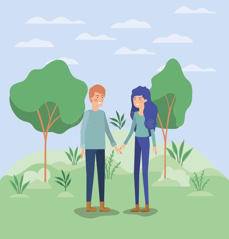 Amantes novos dos pares no campo ilustração royalty free