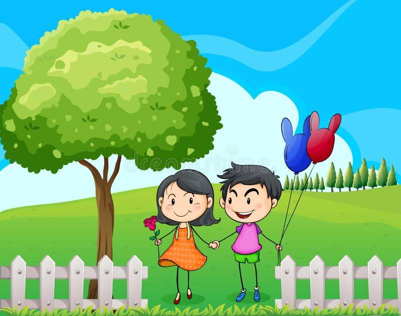 Amantes perto da árvore ilustração royalty free