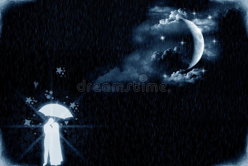 Amantes por el claro de luna ilustración del vector