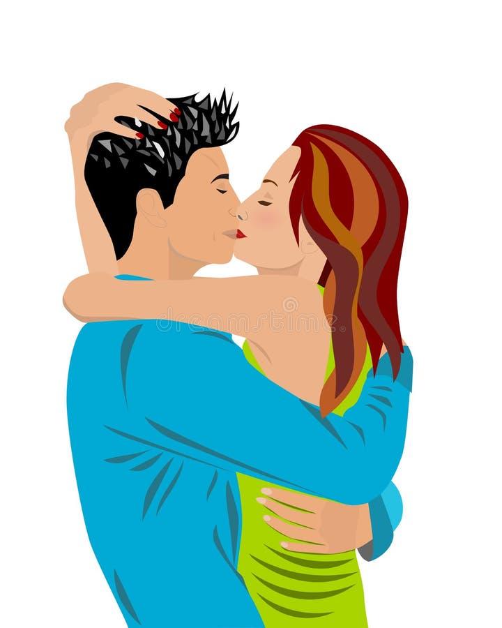Amantes que abrazan y que se besan ilustración del vector