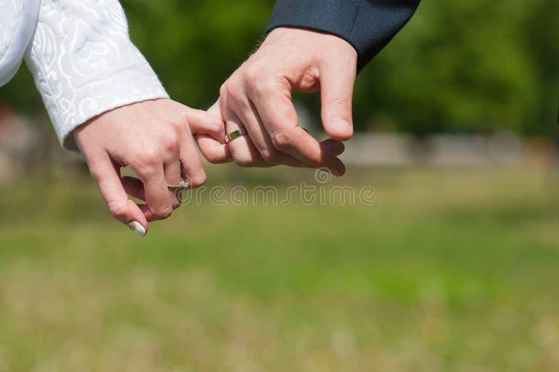 Amantes que guardam as mãos o mindinho imagem de stock royalty free