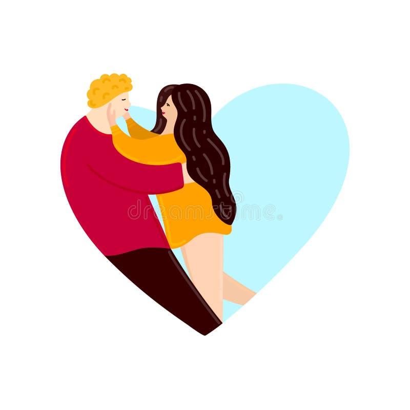 Amantes que olham se e o aperto Forma do coração Dia feliz do `s do Valentim Pares no amor Caráteres bonitos ilustração royalty free