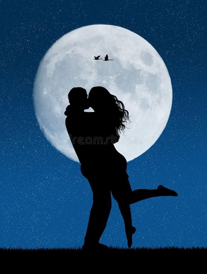 Amantes que se besan en el claro de luna libre illustration