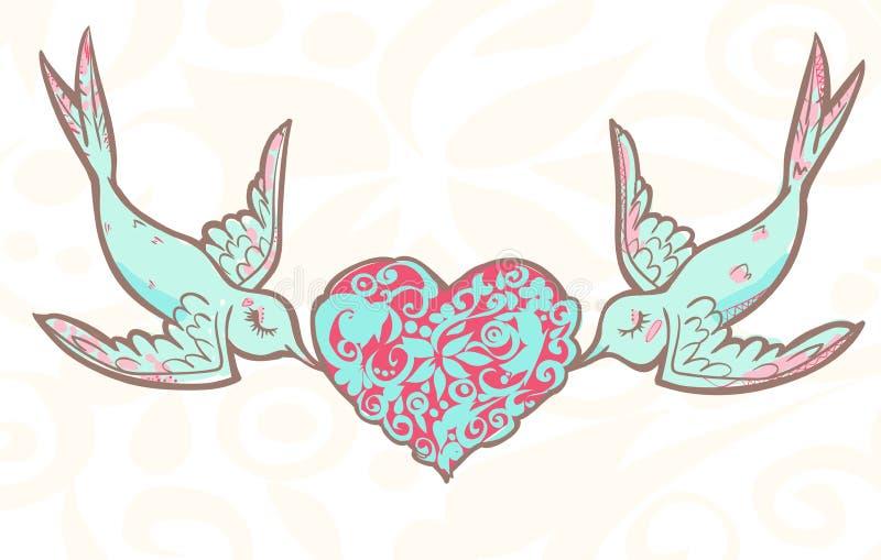 Amantes que se casan pájaros con el corazón modelado stock de ilustración