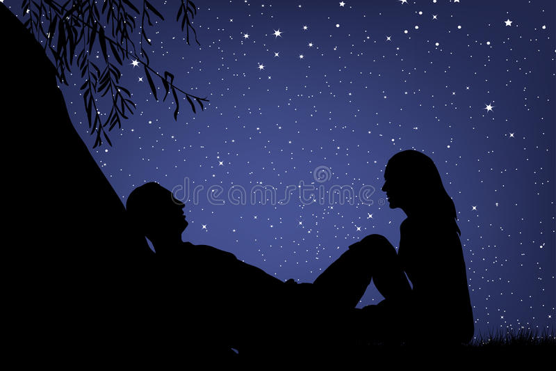 Amantes sob o céu noturno ilustração do vetor