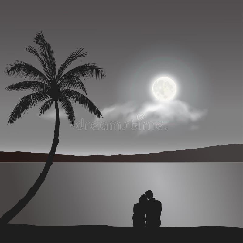 Amantes sob o luar, datando ilustração do vetor