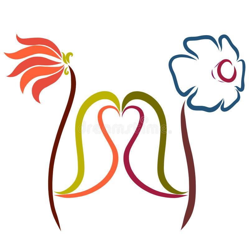 Amanti dei fiori e cuore dalle foglie illustrazione vettoriale