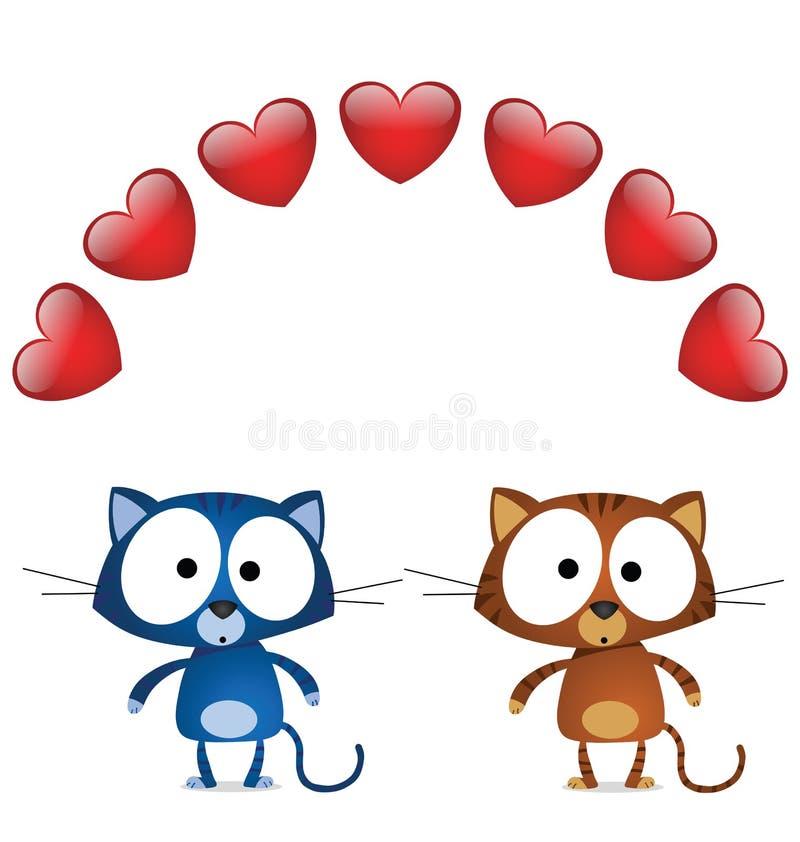 Amanti del biglietto di S. Valentino del gatto illustrazione vettoriale