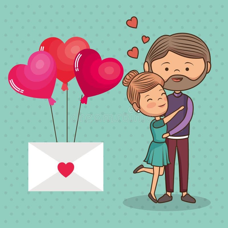 Amanti delle coppie con l'elio dei palloni e della busta illustrazione di stock
