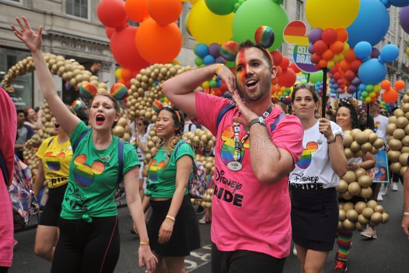 Amanti di Disney al gay pride a Londra, Inghilterra 2019 immagine stock libera da diritti