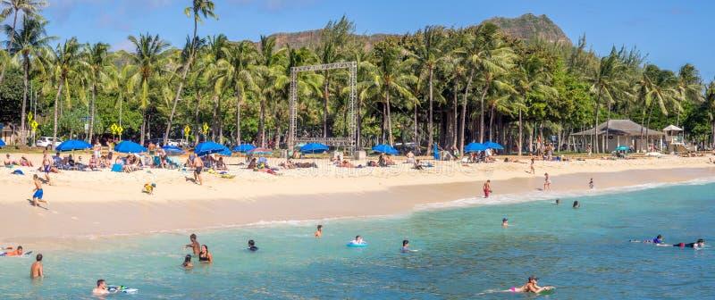 Amanti di Sun sulla spiaggia di Waikiki immagine stock libera da diritti