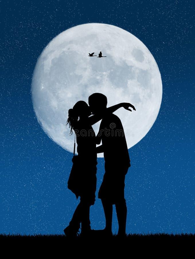 Amanti nella luce della luna illustrazione vettoriale