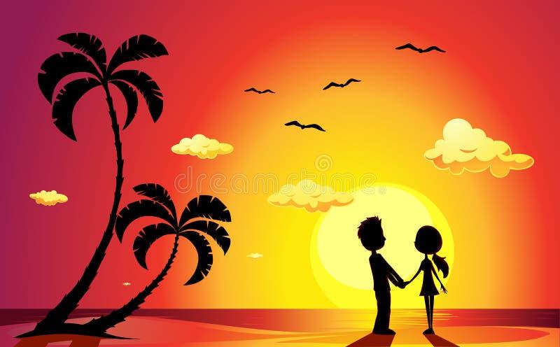 Amanti su una spiaggia al tramonto - vettore royalty illustrazione gratis