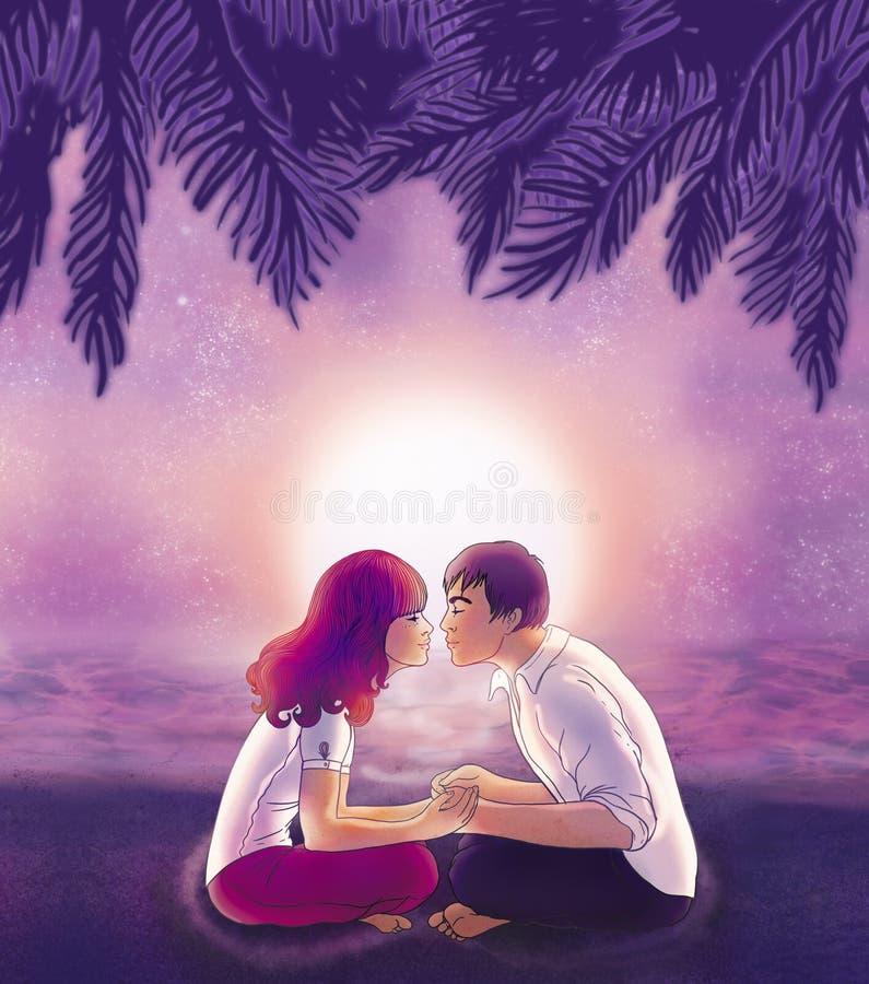 Amants de ?oung embrassant sur la plage illustration libre de droits