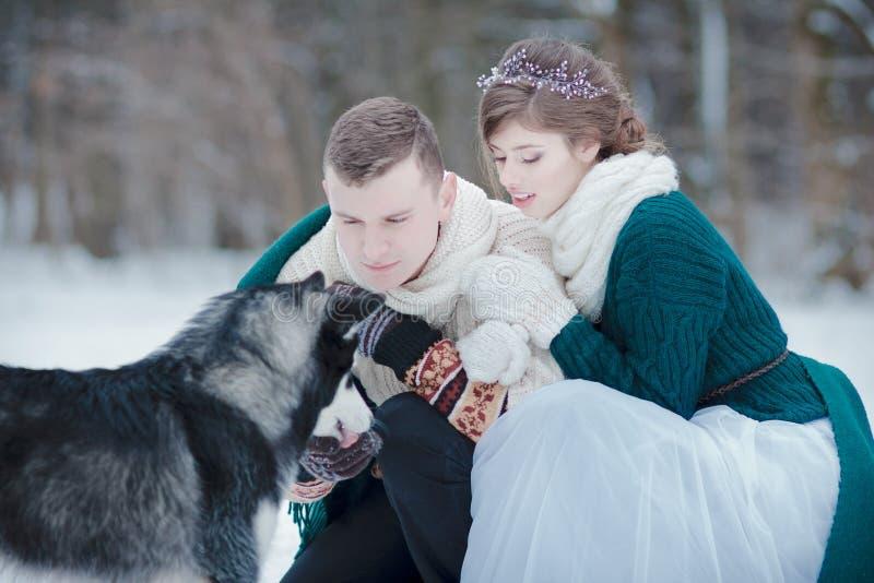 Amants heureux sur la forêt d'hiver marchant avec le chien de traîneau sibérien photographie stock
