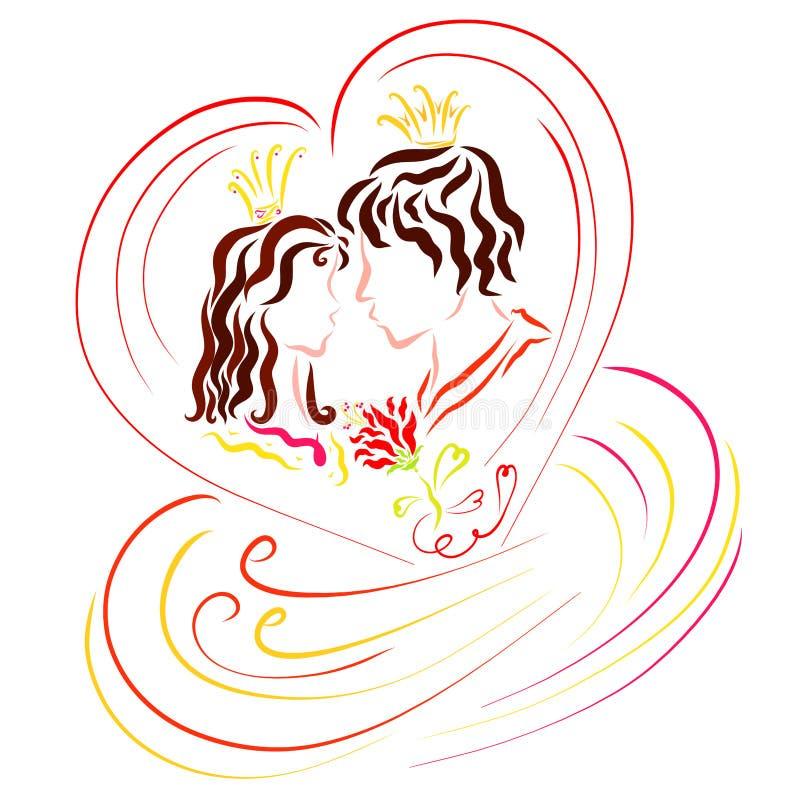 Amants prince et princesse dans un beaux coeur, fleur et sensation illustration libre de droits