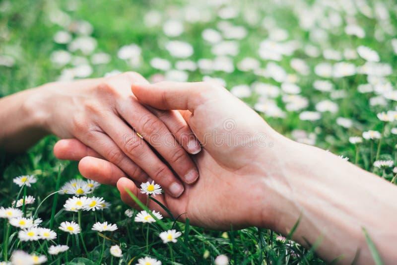 Amants romantiques touchant des mains sur des fleurs de ressort photographie stock libre de droits