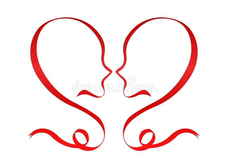 Amants rouges de romance de coeur de concept roman de jour de valentines illustration libre de droits