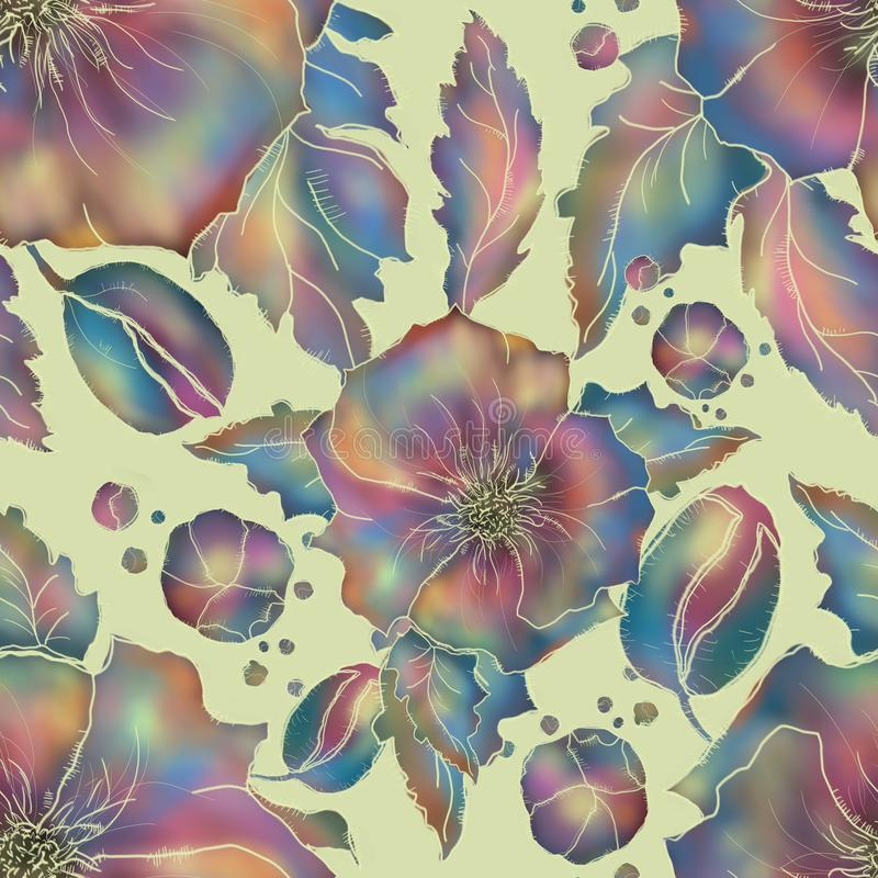 Amapola Modelo de flores inconsútil para la materia textil o el papel pintado stock de ilustración