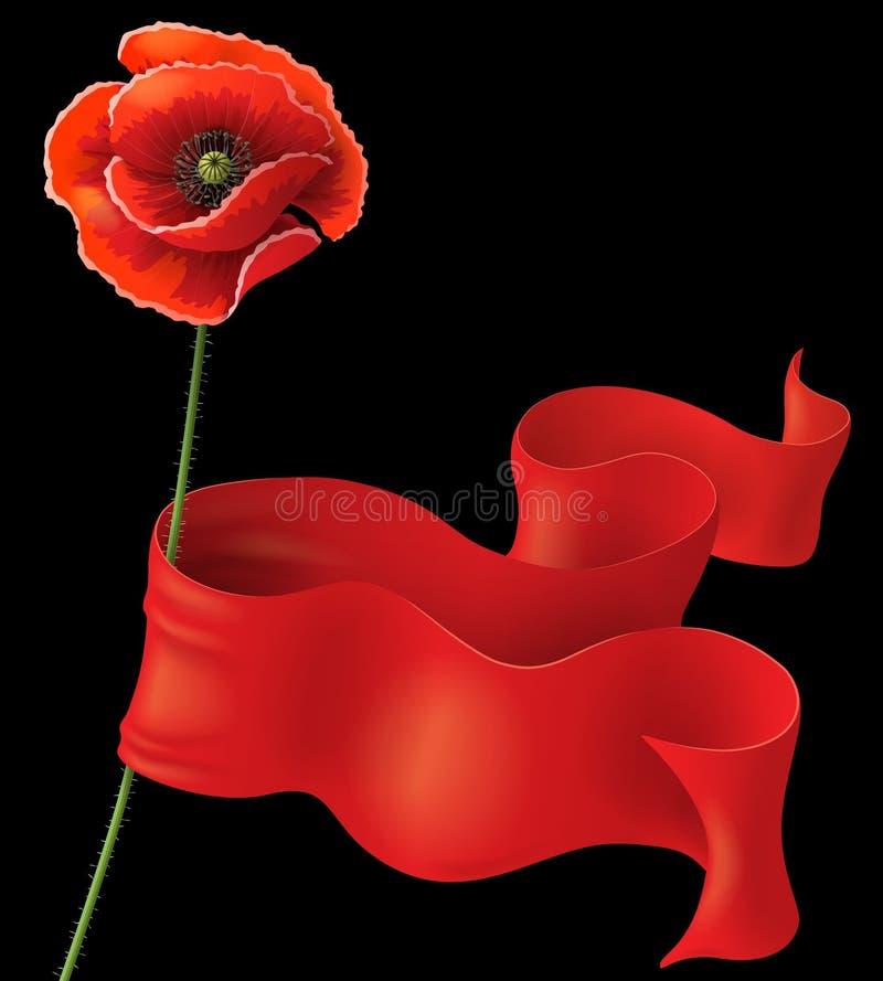 Amapola y cinta roja libre illustration