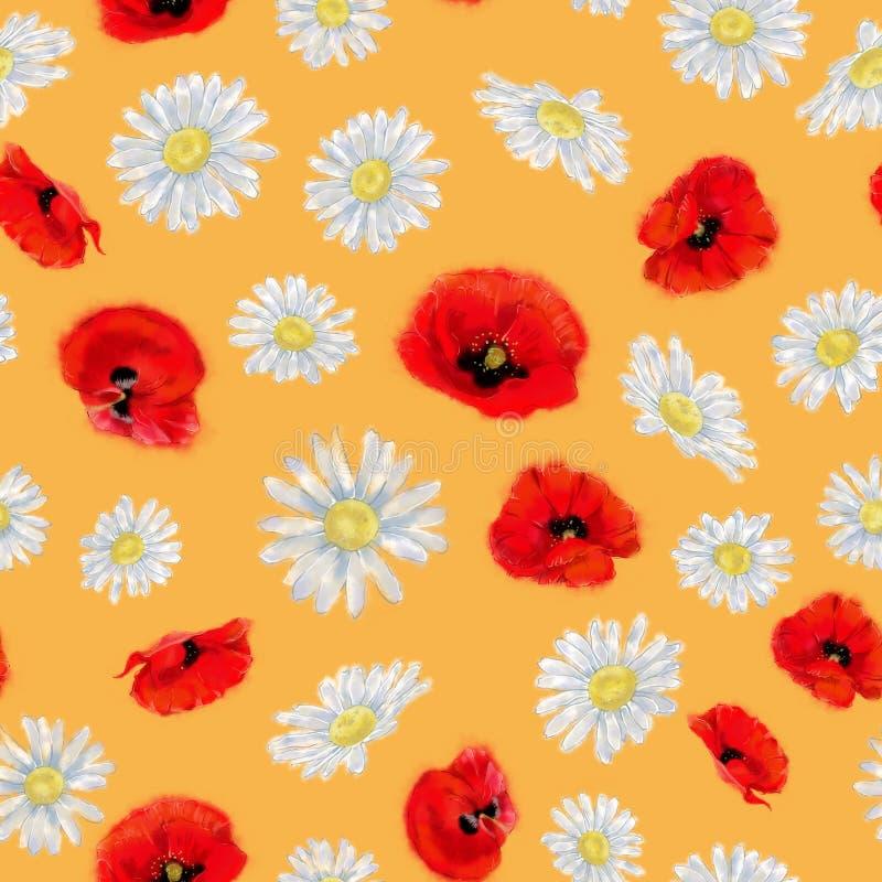 Amapola y Daisy Seamless Pattern en fondo amarillo ilustración del vector